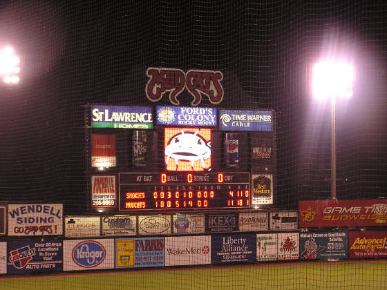 One of the scoreboards at Five County Stadium